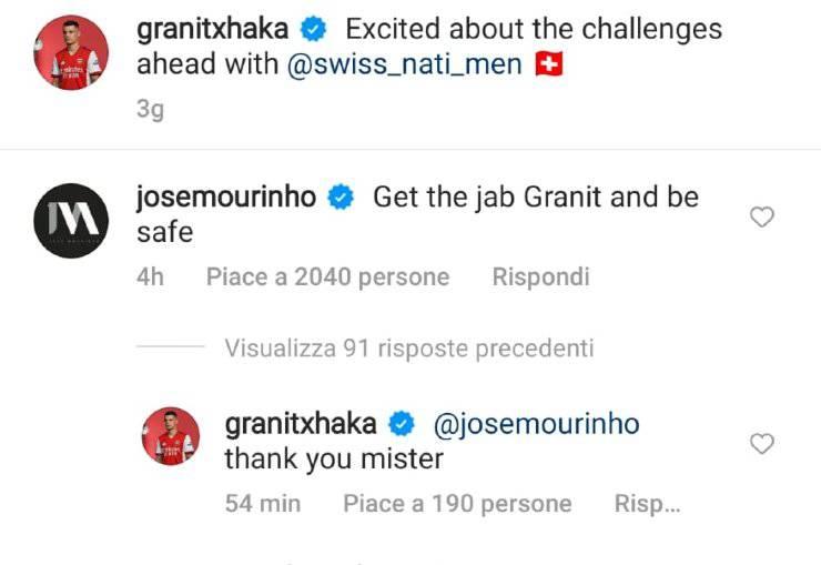 Xhaka positivo al Covid, Mourinho spiazza il calciatore: la raccomandazione  sui social